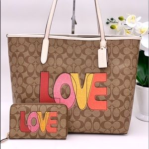 Coach City Tote  and Wallet Set With Love  Print
